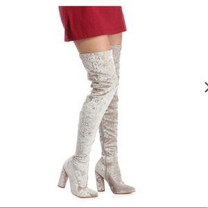 Shoes - Light grey Velvet thigh high boots